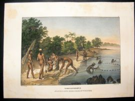 Schinz 1845 Antique Hand Col Print. Natives Fishing, Mariana Islands, Pacific 42
